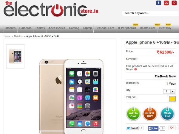 TheElectronicStore: Apple iphone 6 +16GB - Gold