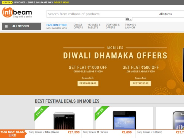 Infibeam: Discounts, sales and offers to look for this Diwali 2014 Click Here To Buy Diwali Offers  Read more at: https://www.gizbot.com/mobile/diwali-special-deals-top-15-online-offers-on-smartphones-laptops-mobiles-camera-news-020083-pg2.html