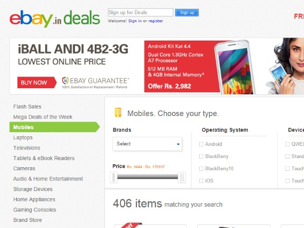 Ebay: Discounts, sales and offers to look for this Diwali 2014  Read more at: https://www.gizbot.com/mobile/diwali-special-deals-top-15-online-offers-on-smartphones-laptops-mobiles-camera-news-020083-pg10.html
