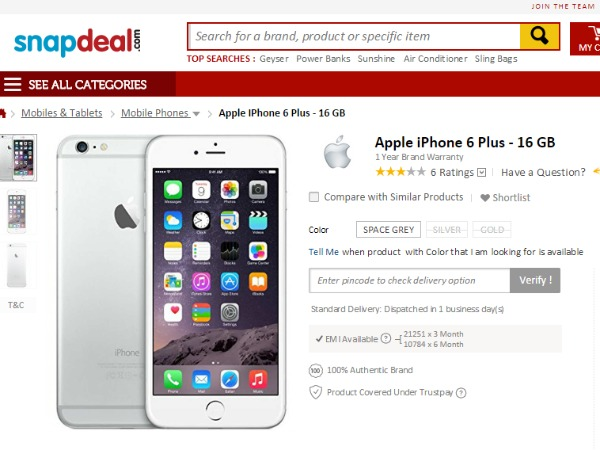 Snapdeal: Apple iPhone 6 - 16 GB(SPACE GRE-GOLD-SILVER)