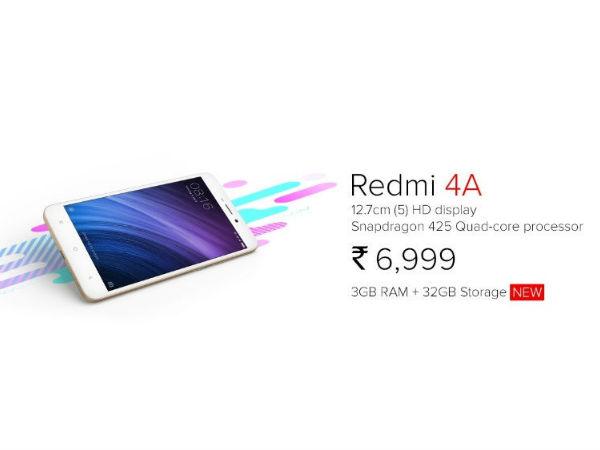 ಬದಲಾದ ರೆಡ್ಮಿ 4Aನಲ್ಲಿ 3GB RAM/32GB ROM: ಬೆಲೆ ಎಷ್ಟು..?