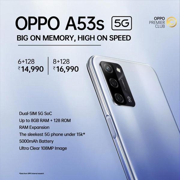 5G ಮಾದರಿಯಲ್ಲಿ ಹೊಸ ಸಂಚಲನ ಮೂಡಿಸಿದ ಒಪ್ಪೋ A53s 5G ಸ್ಮಾರ್ಟ್ಫೋನ್!